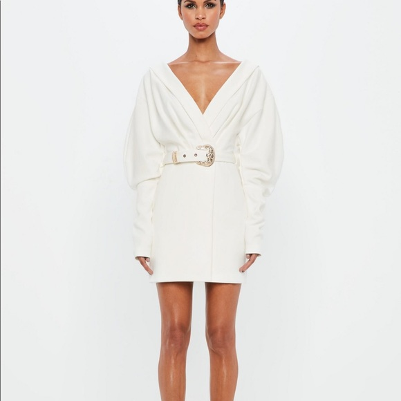 788cf8cdb831 Peace + Love Missguided white belted blazer dress